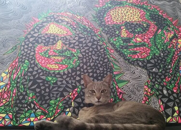Thomas and Annette portrayed by one of Nepals best artists: Aditya Aryal. The painting will stay on the walls at their hotel in Kathmandu. And in Lisbon they will get another cat ;-)