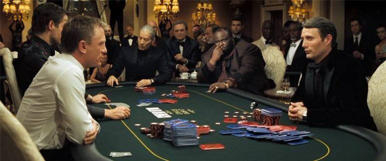 ISOLATION INSPIRATION: James Bond may have been based, at least partly, on Popov. Ian Fleming knew Popov and followed him in Portugal, witnessing an event in the Estoril Casino where Popov placed a bet of $40,000 ($634,842 in 2014 dollars) in order to cause a rival to withdraw from a baccarat table: Fleming used this episode as the basis for Casino Royale. This version with Mads Mikkelsen as Le Chiffre
