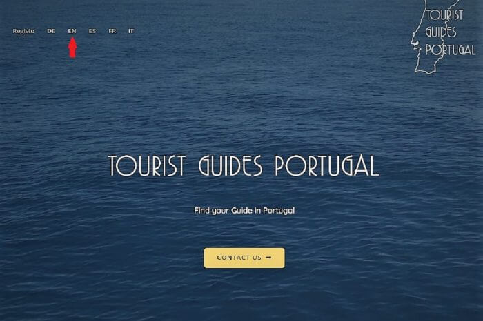 1: Go to tourguideportugal.com and select your preferred language.