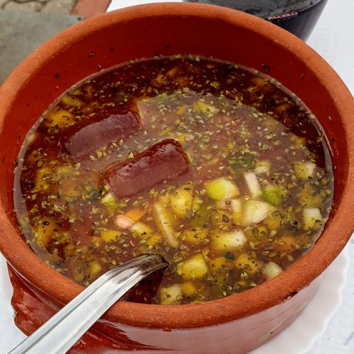 With its proximity to the Spain it's easy to find spanish food. Like tis very and super tasty gazpacho...