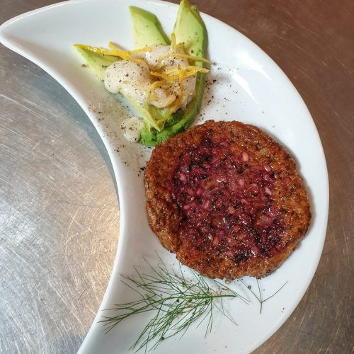 Of course we do a special vegan lunch version - BUT ONLY with a few days notice. This one is Thomas' Xmas version of the Nepalese Barat with a mayo made from aquafaba,