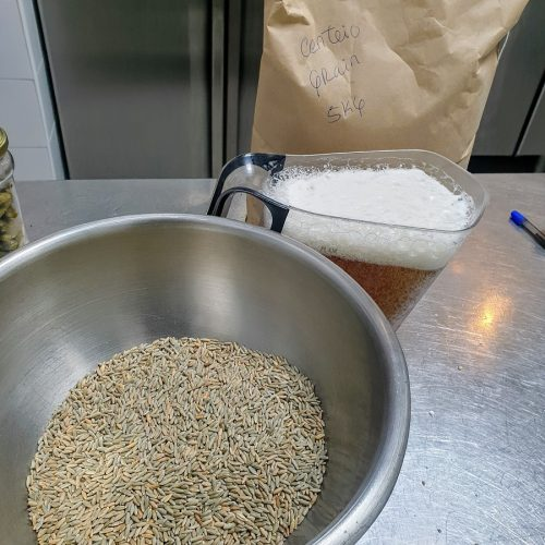 One of our rye breads we start making 24 hrs before serving. The whole rye grains soaks in Super Bock to get soft.
